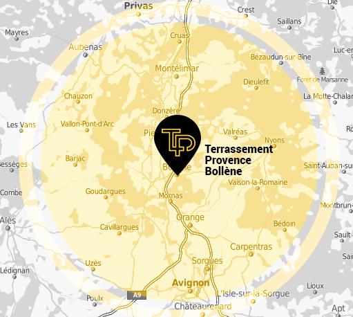 Terrassement Provence intervient pour tous vos travaux de terrassement et de paysagiste à 50 km autour de Bollène